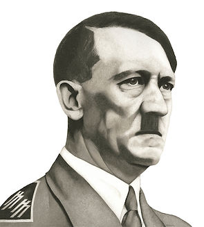 black and white chalk pastel drawing by Mercedes Victoria of Adolf Hitler from The Eleventh Hour series