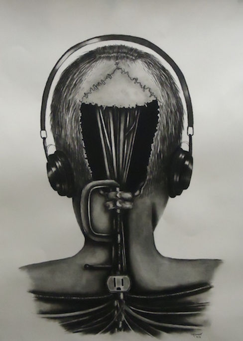 black and white charcoal drawing by Mercedes Victoria of back of head inside head machine drawing