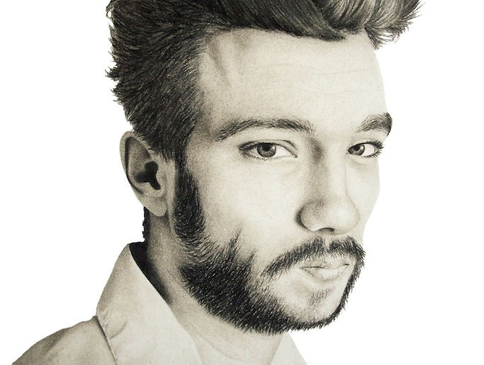 black and white chalk pastel drawing by Mercedes Victoria of Canadian actor Jay Baruchel