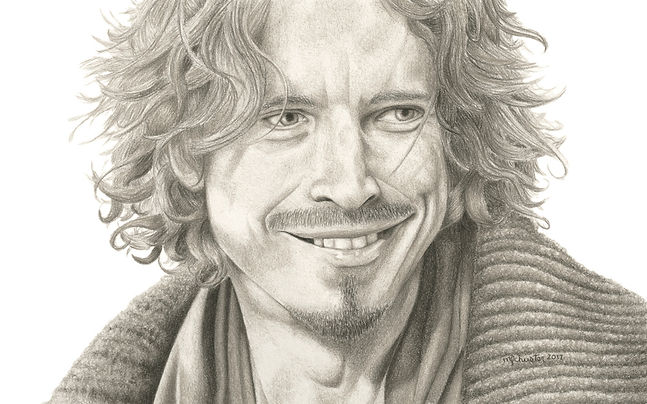black and white chalk pastel commission drawing by Mercedes Victoria of late musician from Soundgarden Temple of the Dog AudioSlave Chris Cornell rock grunge music