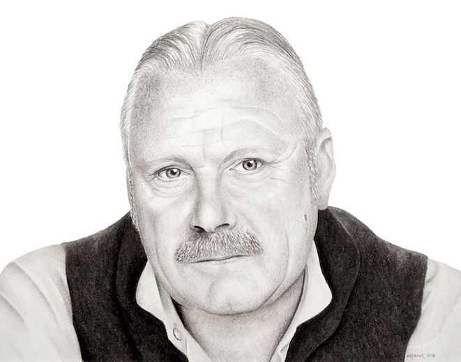 black and white chalk pastel drawing done by Mercedes Victoria of Welsh actor Thomas Craig
