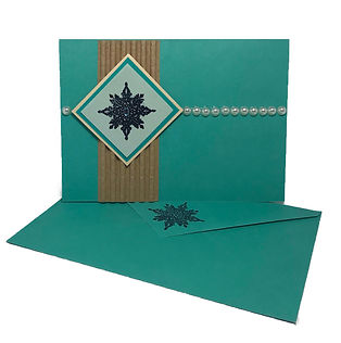 snowflake pearl christmas card blank