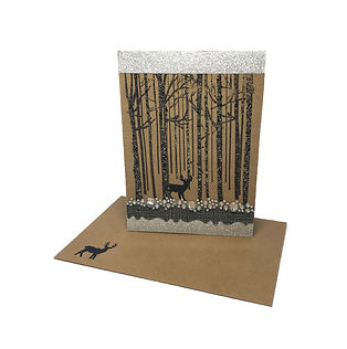 deer in the forest christmas snow blank greeting card