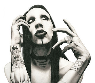 black and white chalk pastel drawing by Mercedes Victoria of Marilyn Manson from series The Eleventh Hour