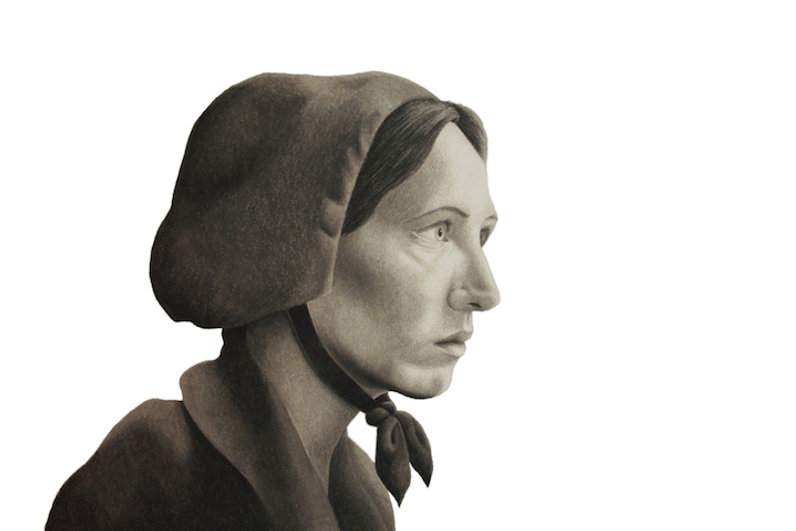 black and white chalk pastel drawing by Mercedes Victoria of woman mennonite settler pioneer