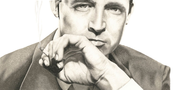 black and white chalk pastel drawing by Mercedes Victoria of late famous Hollywood actor Cary Grant
