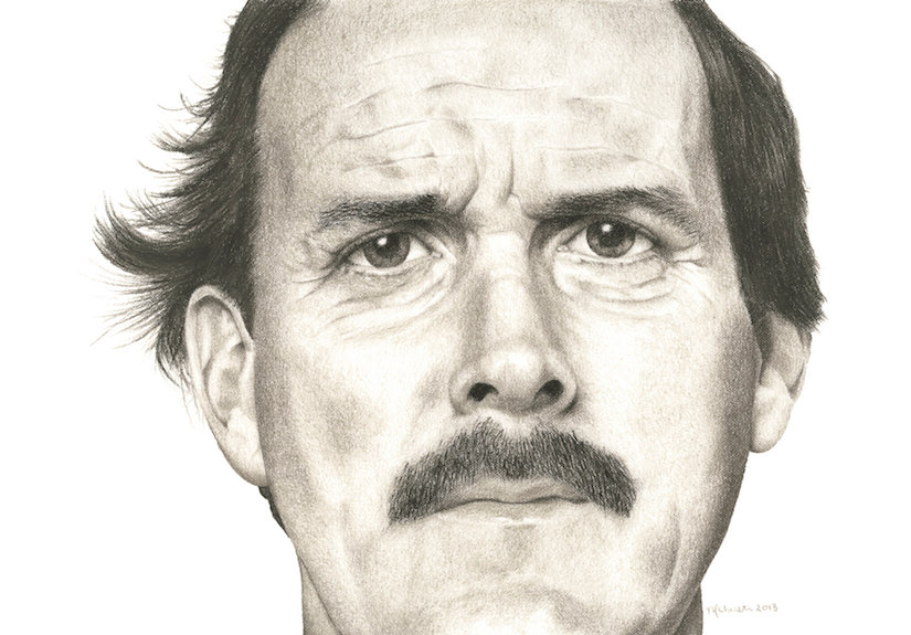 black and white chalk pastel drawing by Mercedes Victoria of Hollywood famous actor John Clees
