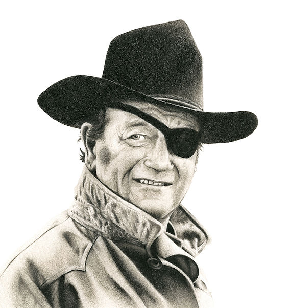 black and white chalk pastel commission drawing by Mercedes Victoria of late Hollywood actor old western movies John Wayne The Rooster