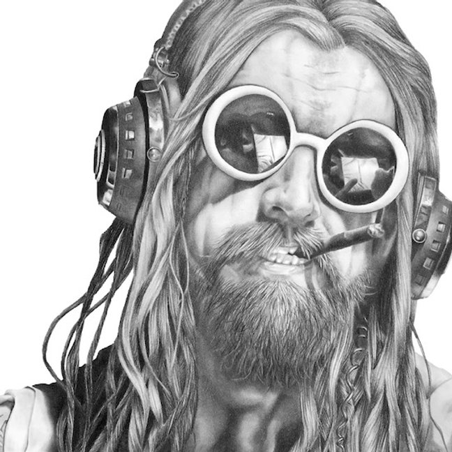 black and white graphite pencil drawing by Mercedes Victoria of heavy metal musician Rob Zombie White Zombie