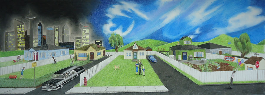 chalk pastel drawing by Mercedes Victoria of cityscape landscape from Learning to Fly by Pink Floyd
