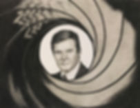 black and white chalk pastel drawing by Mercedes Victoria of James Bond 007 Roger Moore