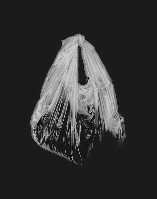 black and white graphite pencil drawing by Mercedes Victoria of plastic bag empty hope high contrast art