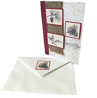 pinecone holly berry branch christmas card blank