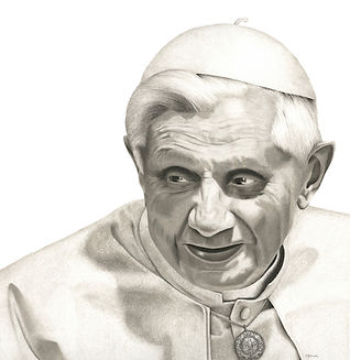 black and white chalk pastel drawing by Mercedes Victoria of Pope Benedict XVI from series The Eleventh Hour