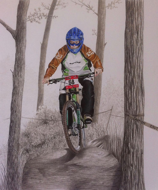 black and white chalk pastel commissioned drawing by Mercedes Victoria of biking trail bike boxxer