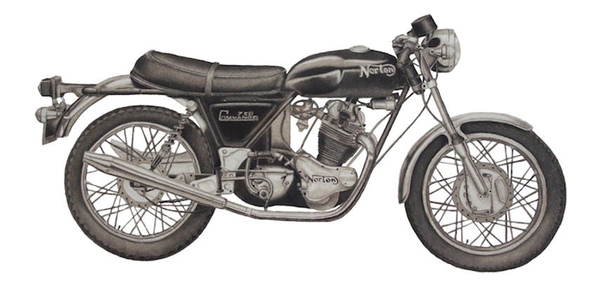 black and white chalk pastel commission drawing by Mercedes Victoria of 1973 Norton Commando motorcycle