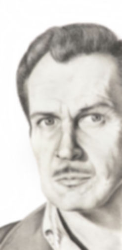 black and white chalk pastel drawing by Mercedes Victoria of late Hollywood actor horror movies Vincent Price