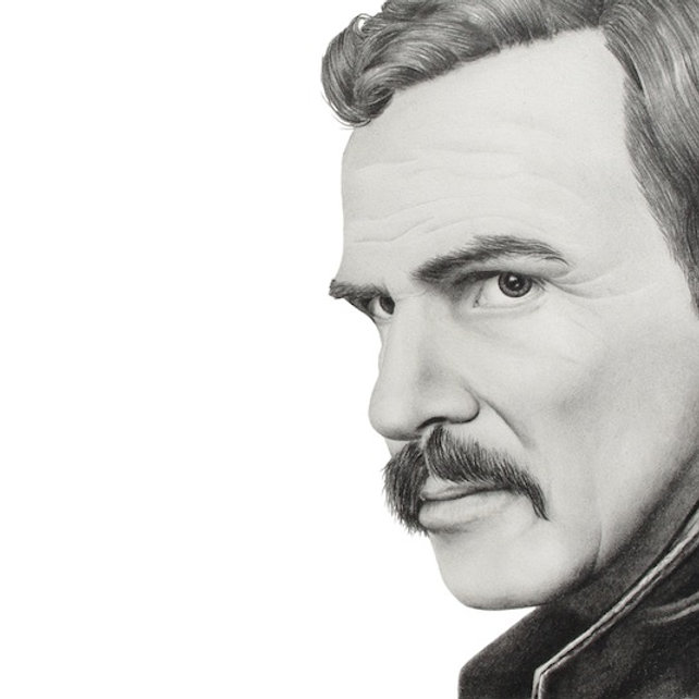 black and white graphite pencil drawing by Mercedes Victoria of late famous hollywood actor Burt Reynolds