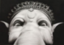 black and white graphite pencil drawing by Mercedes Victoria of hindu god Ganesha elephant