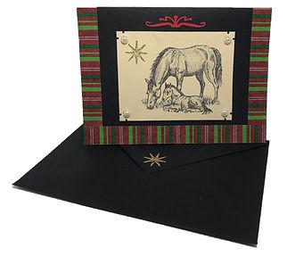 horse animal farm christmas card blank