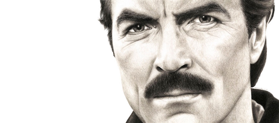 black and white chalk pastel drawing by Mercedes Victoria of famous Hollywood actor Magnum PI western movies Tom Selleck