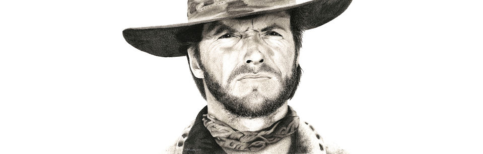 black and white chalk pastel commission drawing by Mercedes Victoria of Clint Eastwood from Josey Wales old western movies
