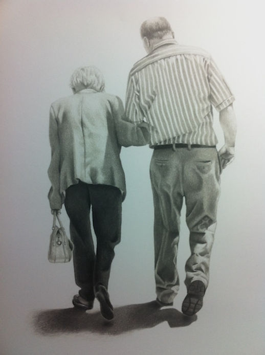 black and white chalk pastel commission drawing by Mercedes Victoria of grandma and dad family love generation