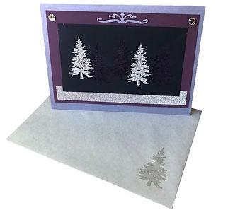 christmas tree purple silver blank card