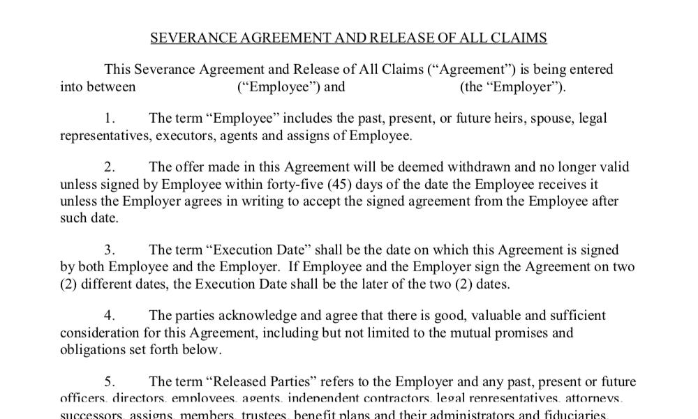 Massachusetts severance agreement release of all claims