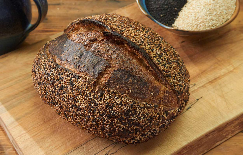 close up of sourdough sesame loaf
