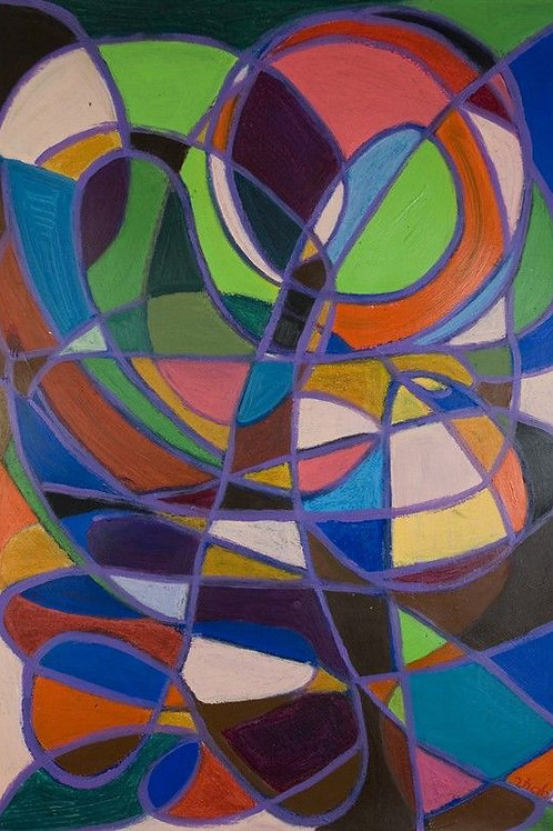 "Abstarct Art Painting Colorful - ""Stained Glass"""