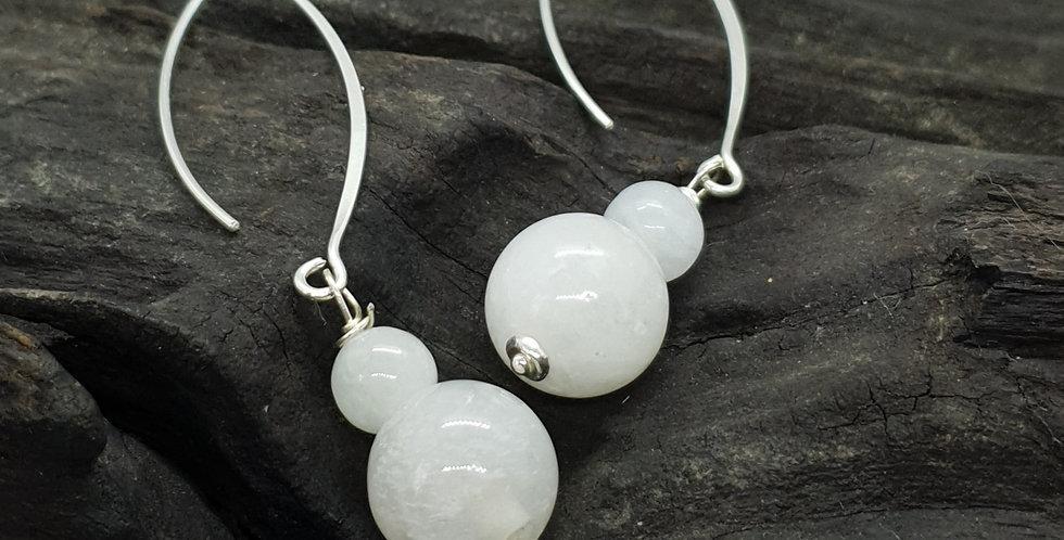Øreringe med hvid/transparent jade