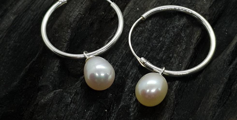 Sølvcreoler med perler