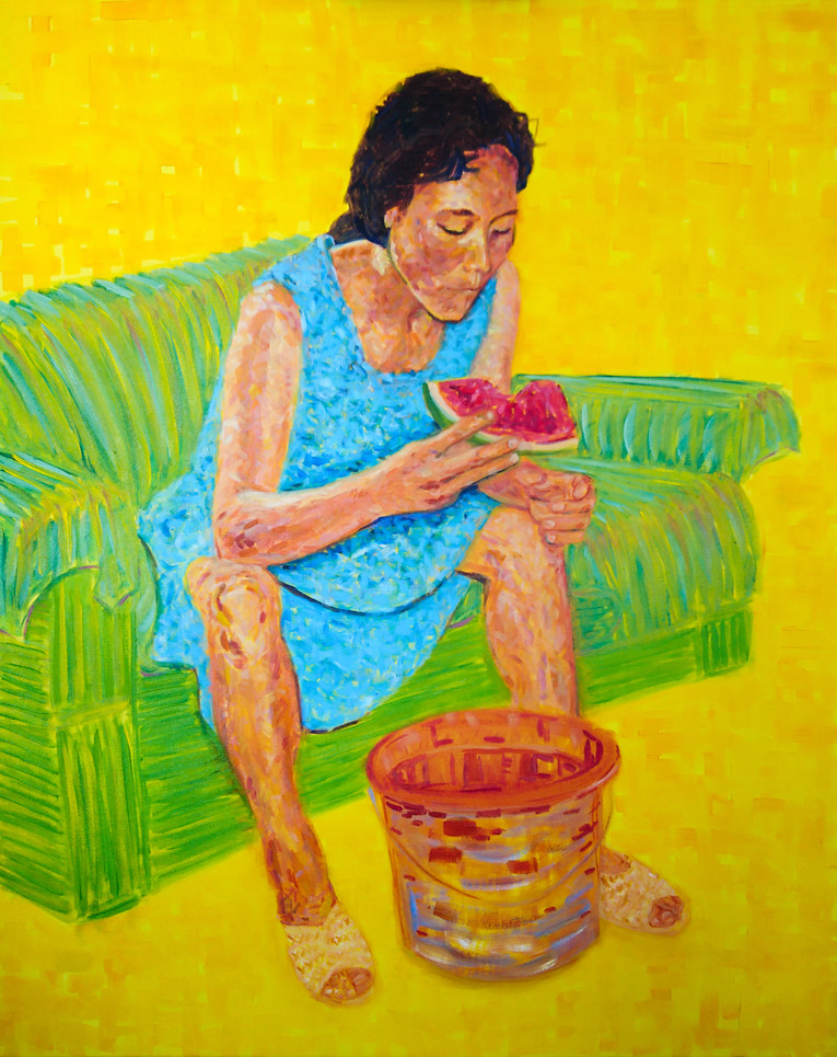 A girl with a watermelon