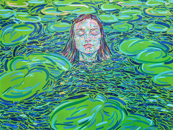 A girl with water lilies