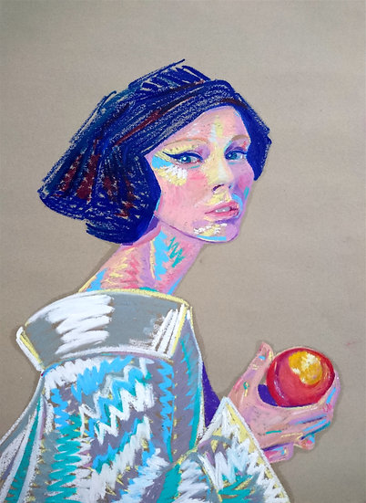 Girl with a peach