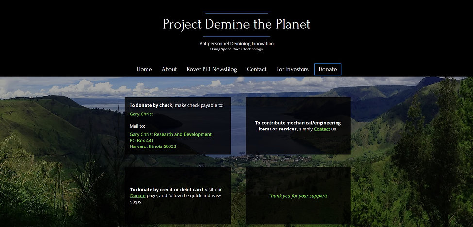 Project Demine the Planet  donate subpag