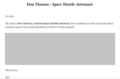 Astronaut Don Thomas letter to John Wolf