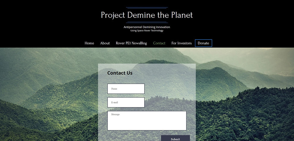 Project Demine the Planet  contact page