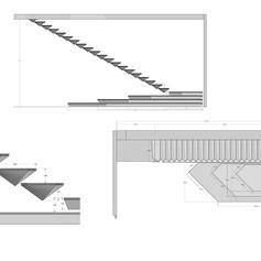 Esecutivi di progetto per scala in resina ed acciaio con illuminazione LED, realizzazione by Officine Sandrini