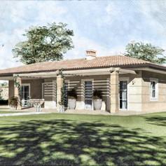 Progetto per villa singola ad un piano con portico e pergolati