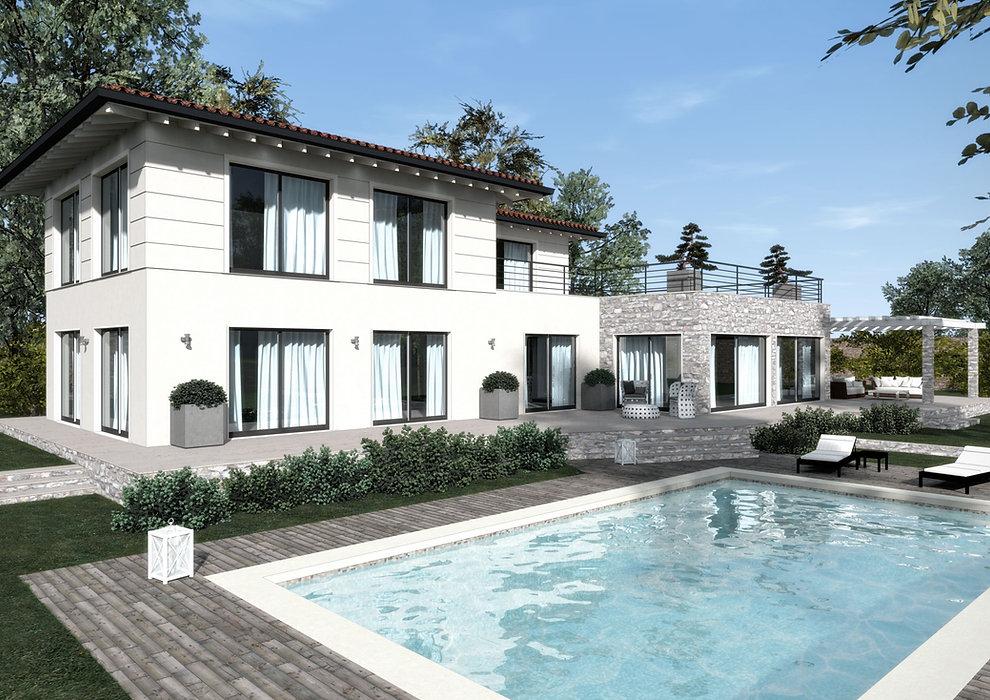 Villa con dependance in pietra, pergolato e piscina - image courtesy of EIDOMATICA | progettazione e servizi | www.eidomatica.com