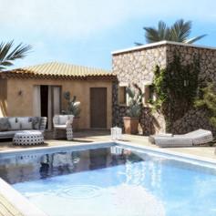 Villa vacanze, zona piscina e solarium, Santa Teresa di Gallura, Sardegna