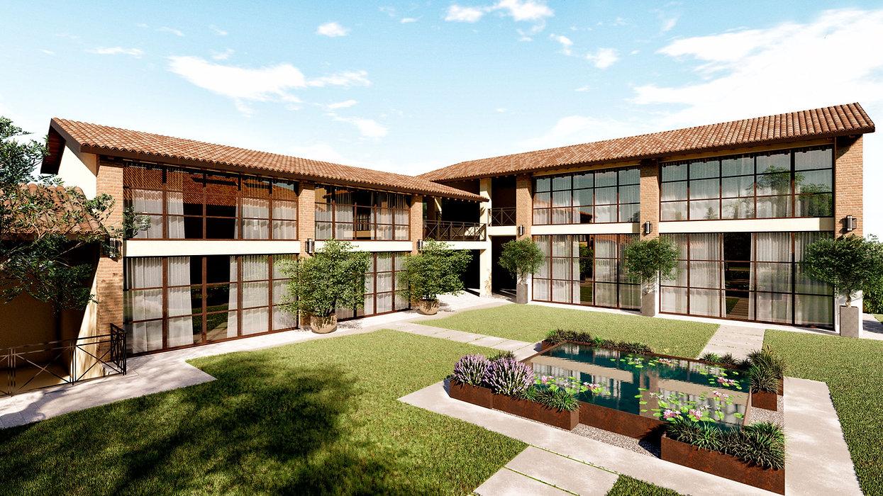 Corte ristrutturata con piscina ninfee in corten - image courtesy of EIDOMATICA | progettazione e servizi | www.eidomatica.com