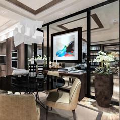 Area cucina/pranzo per mock-up appartamento estero