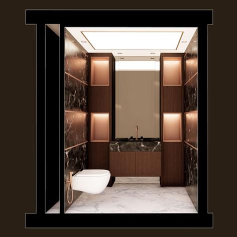 Bagno con rivestimento in marmo scuro