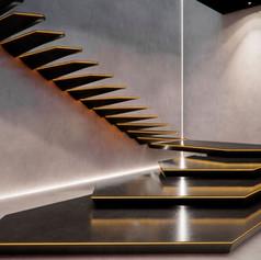 Scala in resina ed acciaio con illuminazione LED, realizzazione by Officine Sandrini