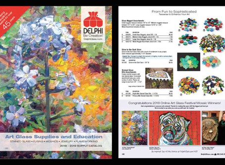 Featured on Cover & Inside Delphi Glass' 2018 Catalog