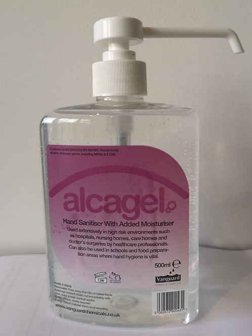 Alcagel Hand Sanitiser 70% Alcohol Gel  (1 x 500ml Bottle)