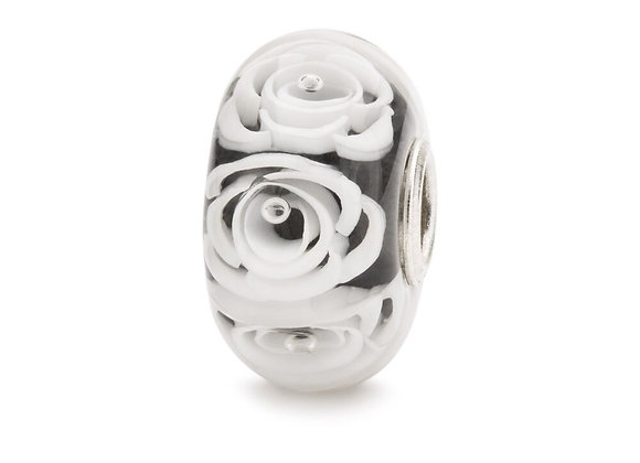 TROLLBEADS WHITE ROSES BEAD TGLBE 30044
